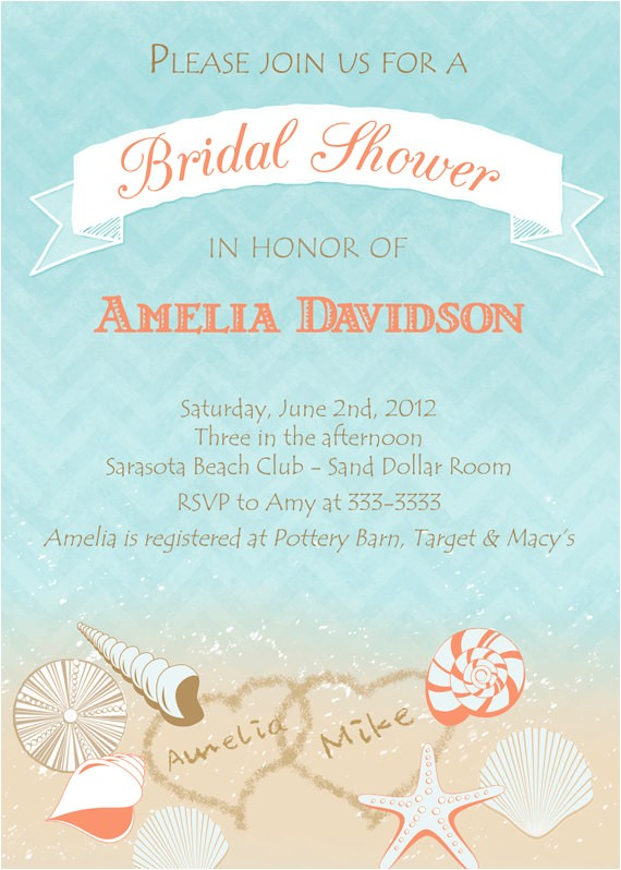 Free Printable Bridal Shower Invitations Beach theme Bridal Shower Invitations Free Printable Bridal Shower