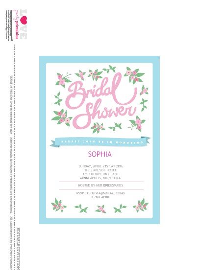 free bridal shower party printables from love party printables