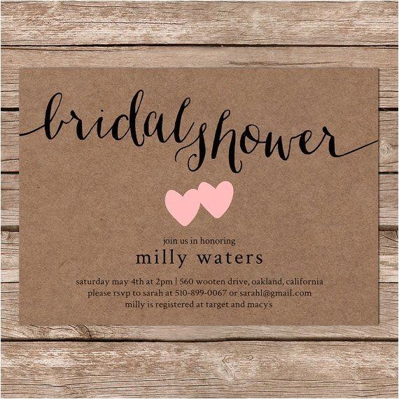 Free Printable Bridal Shower Invitations Rustic Printable Bridal Shower Invitation Rustic Wedding