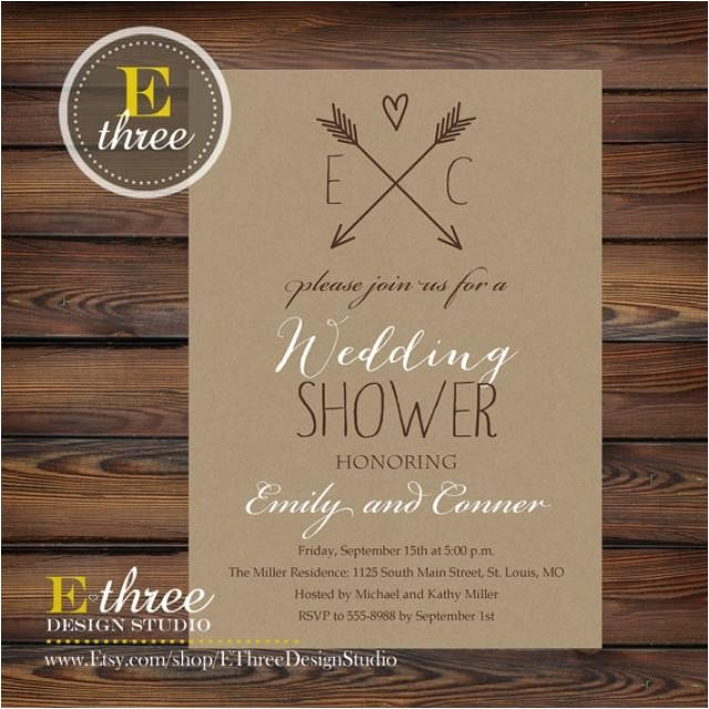 printable rustic wedding shower invitation kraft paper and aarows couples shower bridal shower invitation