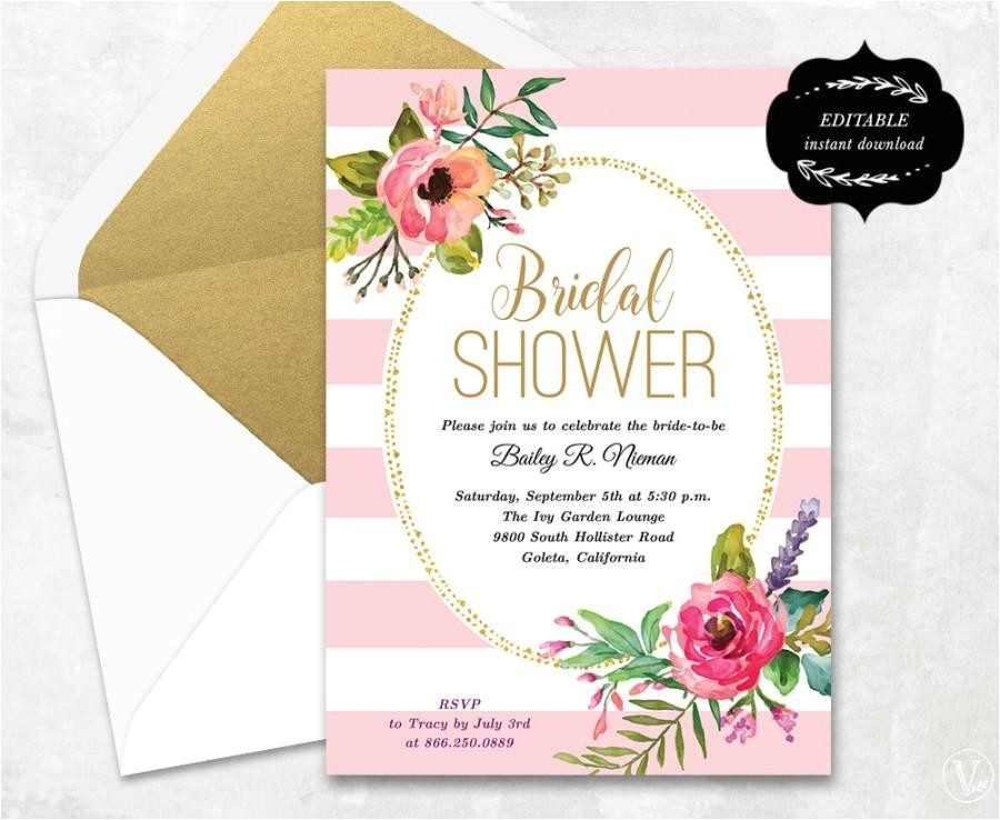 blush pink floral bridal shower invitation template printable bridal shower invitation instant editable text 5x7 bs004
