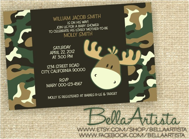camouflage baby shower invitations template