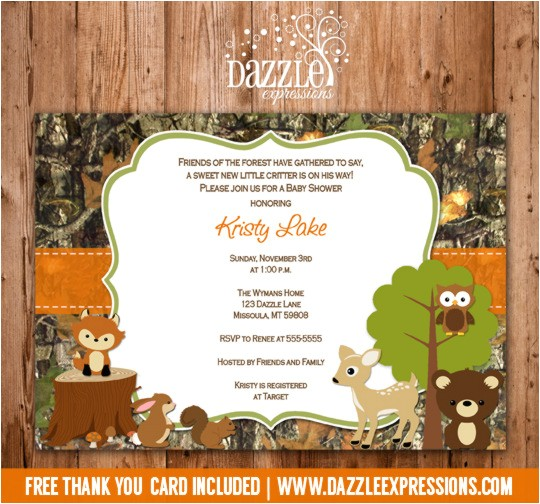 Woodland Camo Baby Shower Invitation FREE thank you card included