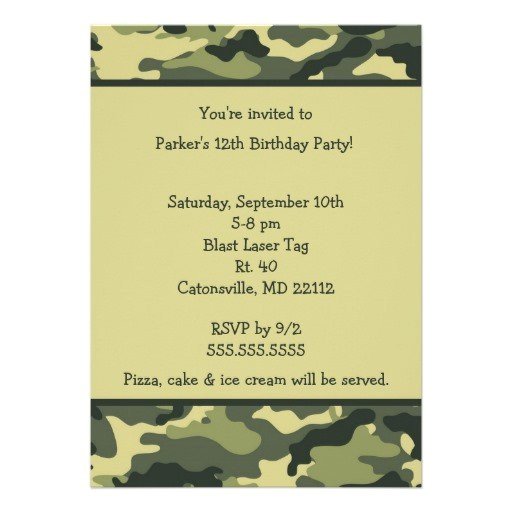 Free Printable Camo Birthday Invitations Free Printable Camouflage Invitations