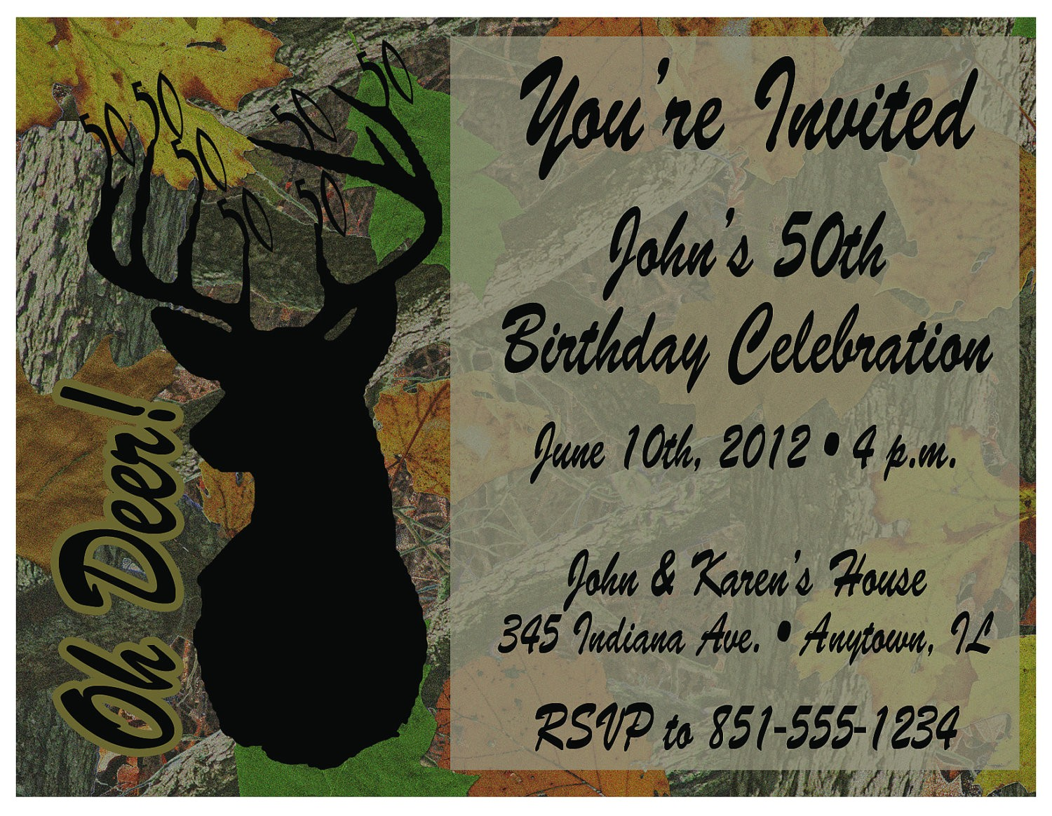 free printable hunting birthday invitations