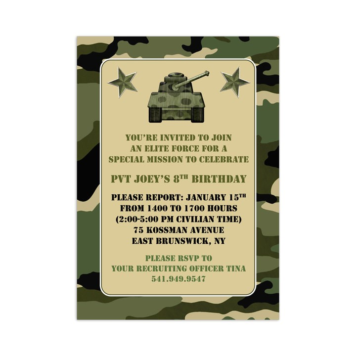 printable camouflage invitation template