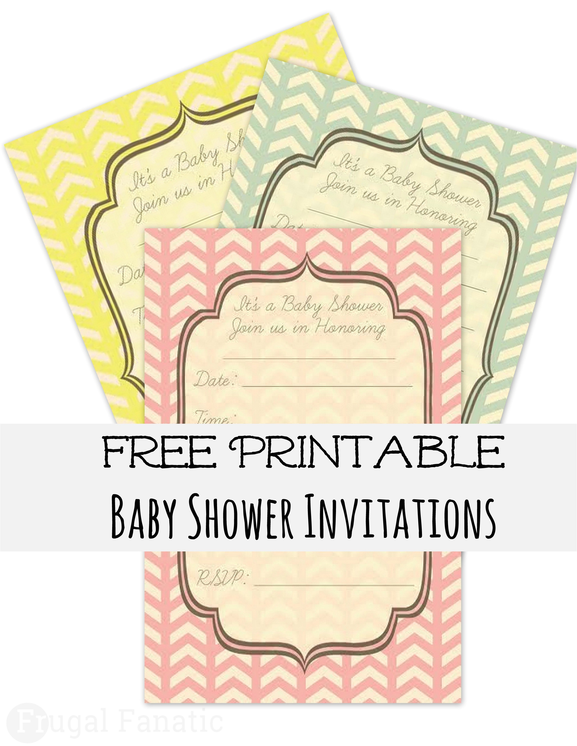 free printable chevron baby shower invitations