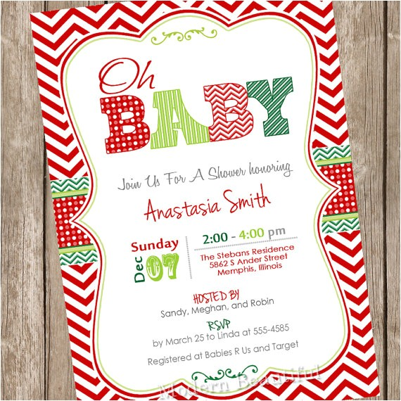 oh baby christmas baby shower invitation