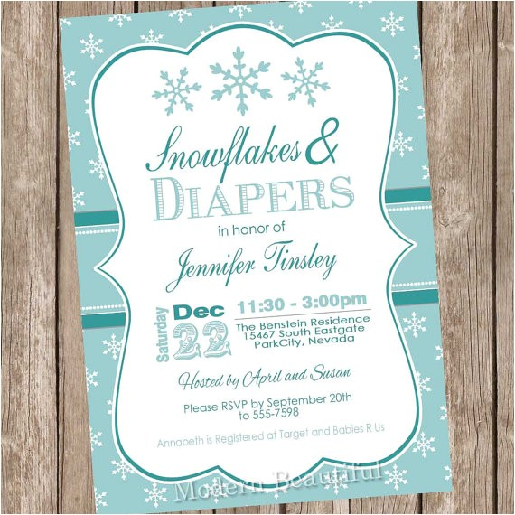 snowflake baby shower invitation winter