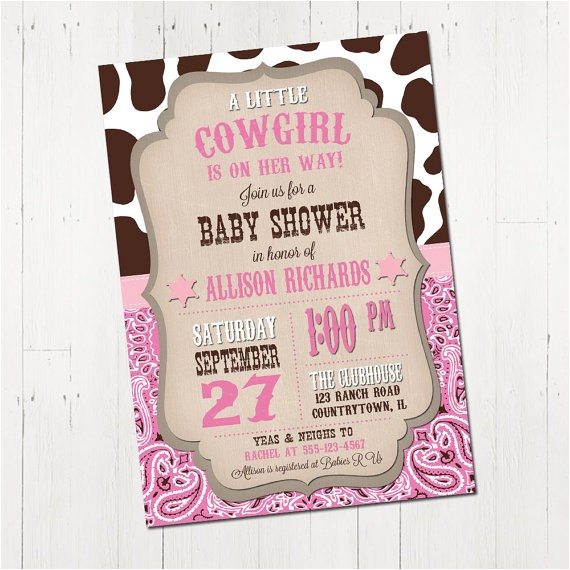 cowgirl baby shower invitation printable