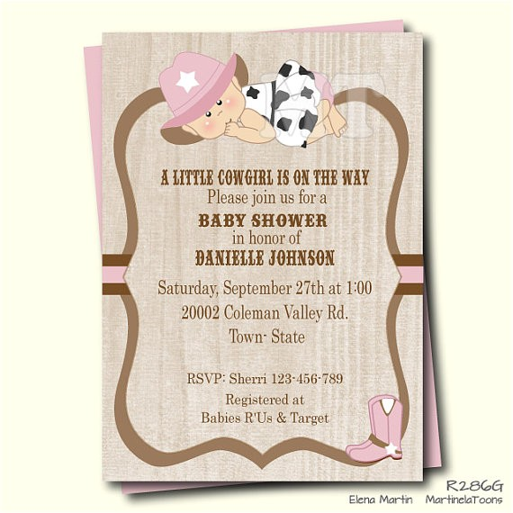 pink cowgirl baby shower invitation baby