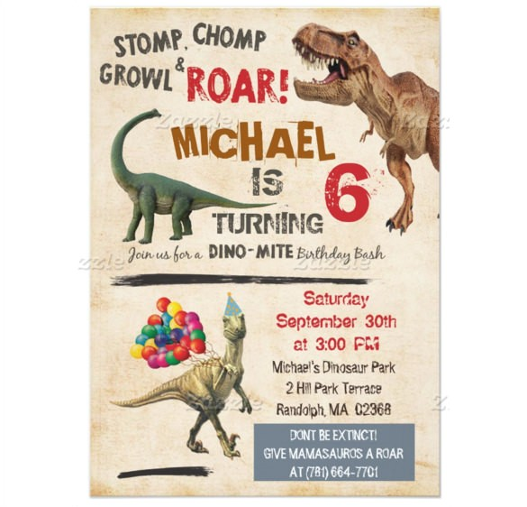 sample dinosaur birthday invitation