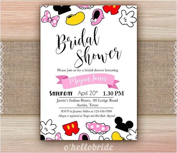 disney theme bridal shower invitation