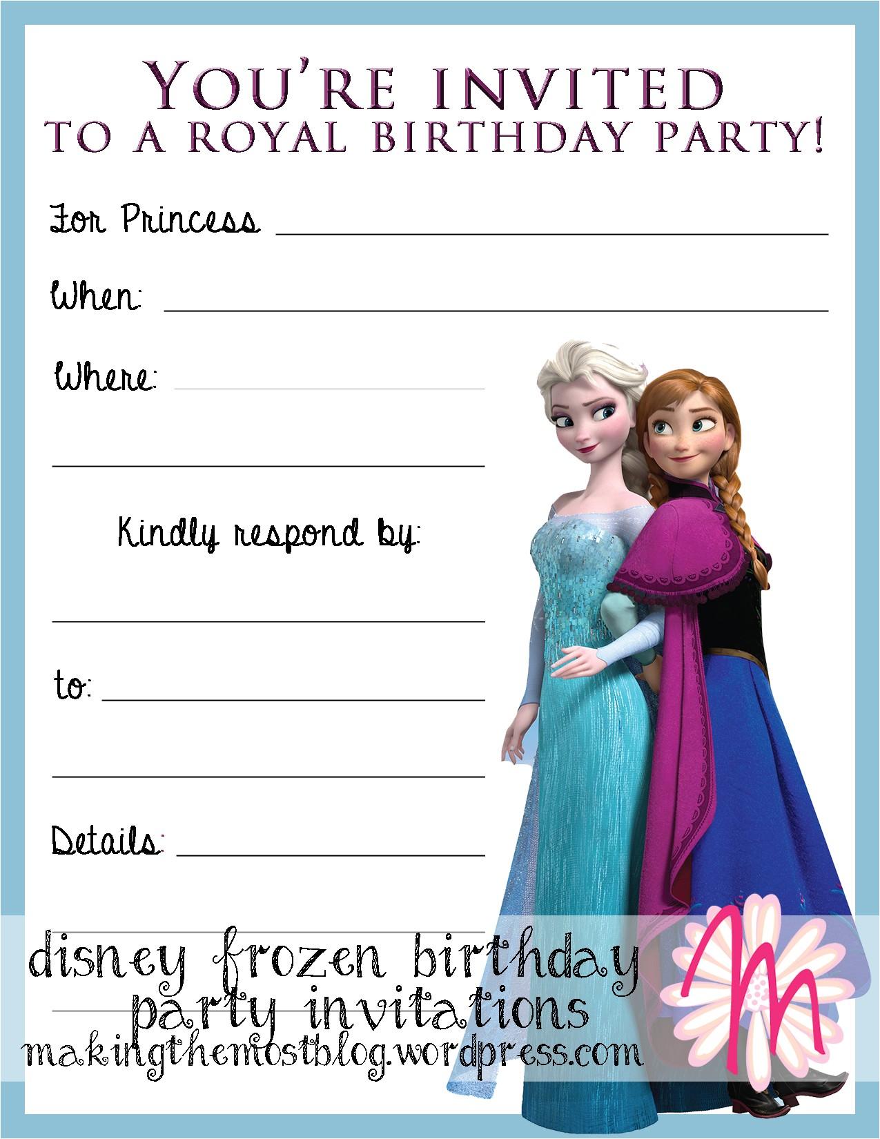 a disney frozen birthday party invitations