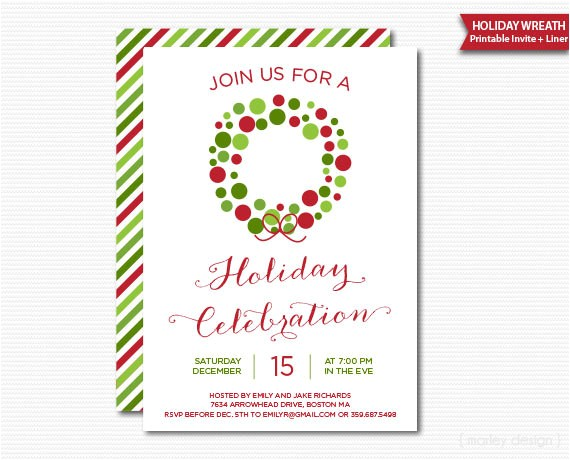 christmas wreath holiday party invitation printable