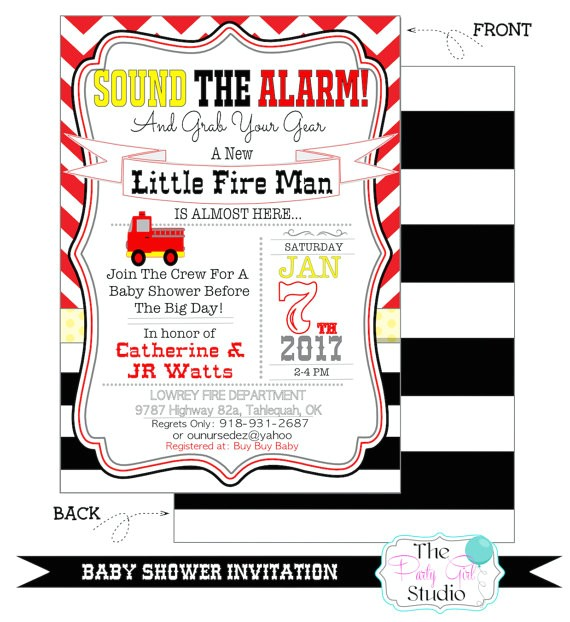 fireman party baby shower invitation custom 2