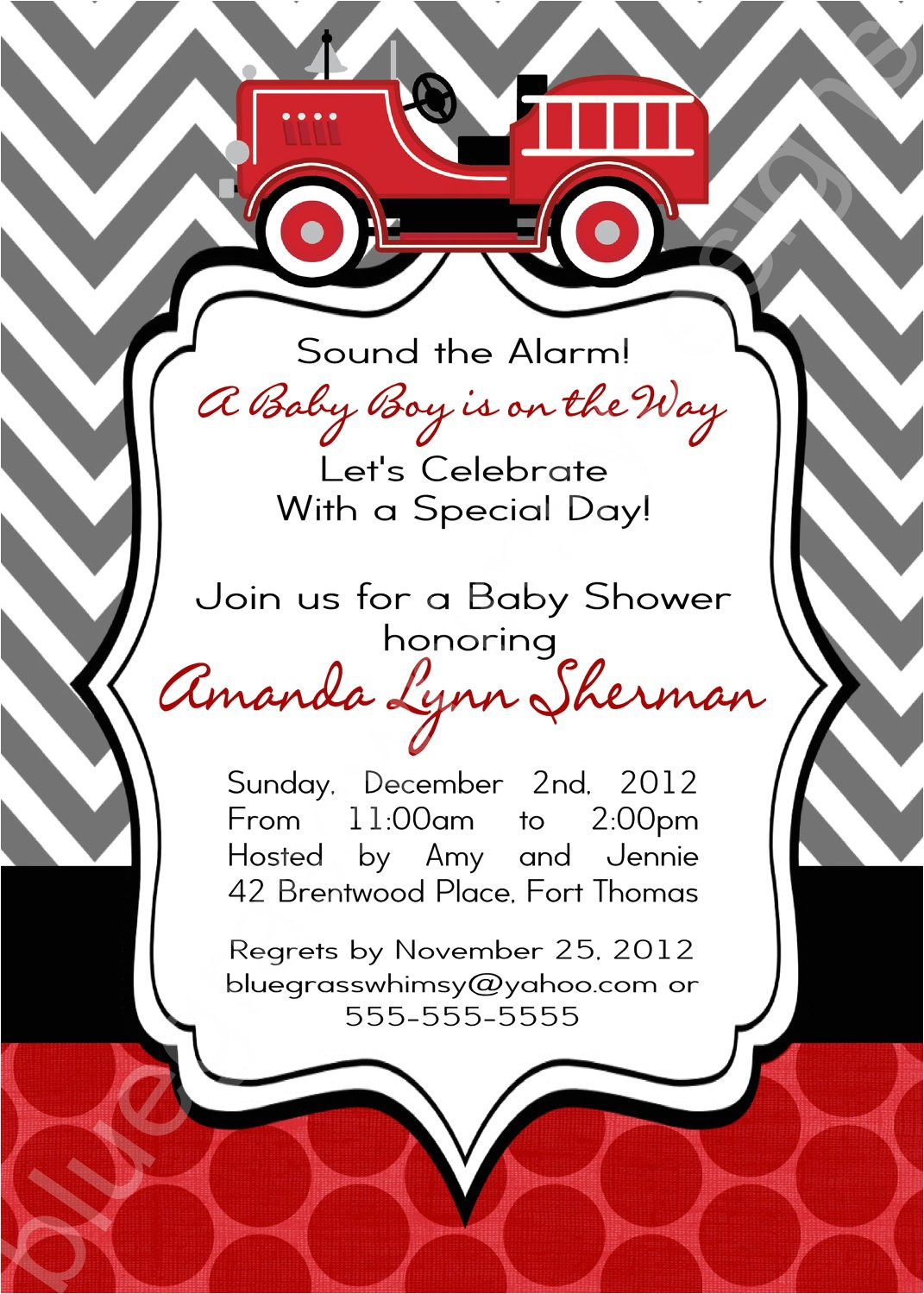 firetruck baby shower invitation for a
