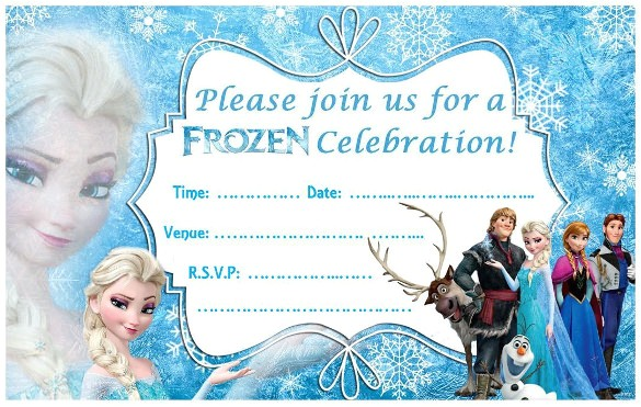 sample frozen birthday invitation