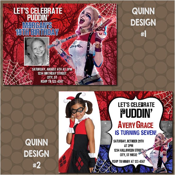 harley quinn birthday party invitations