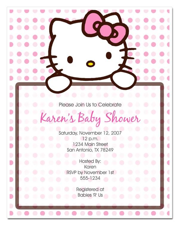 cute hello kitty baby shower invitations design ideas