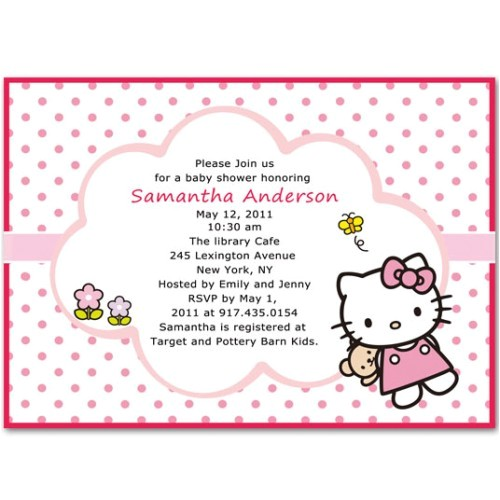 cute hello kitty baby girl shower invitations bs068