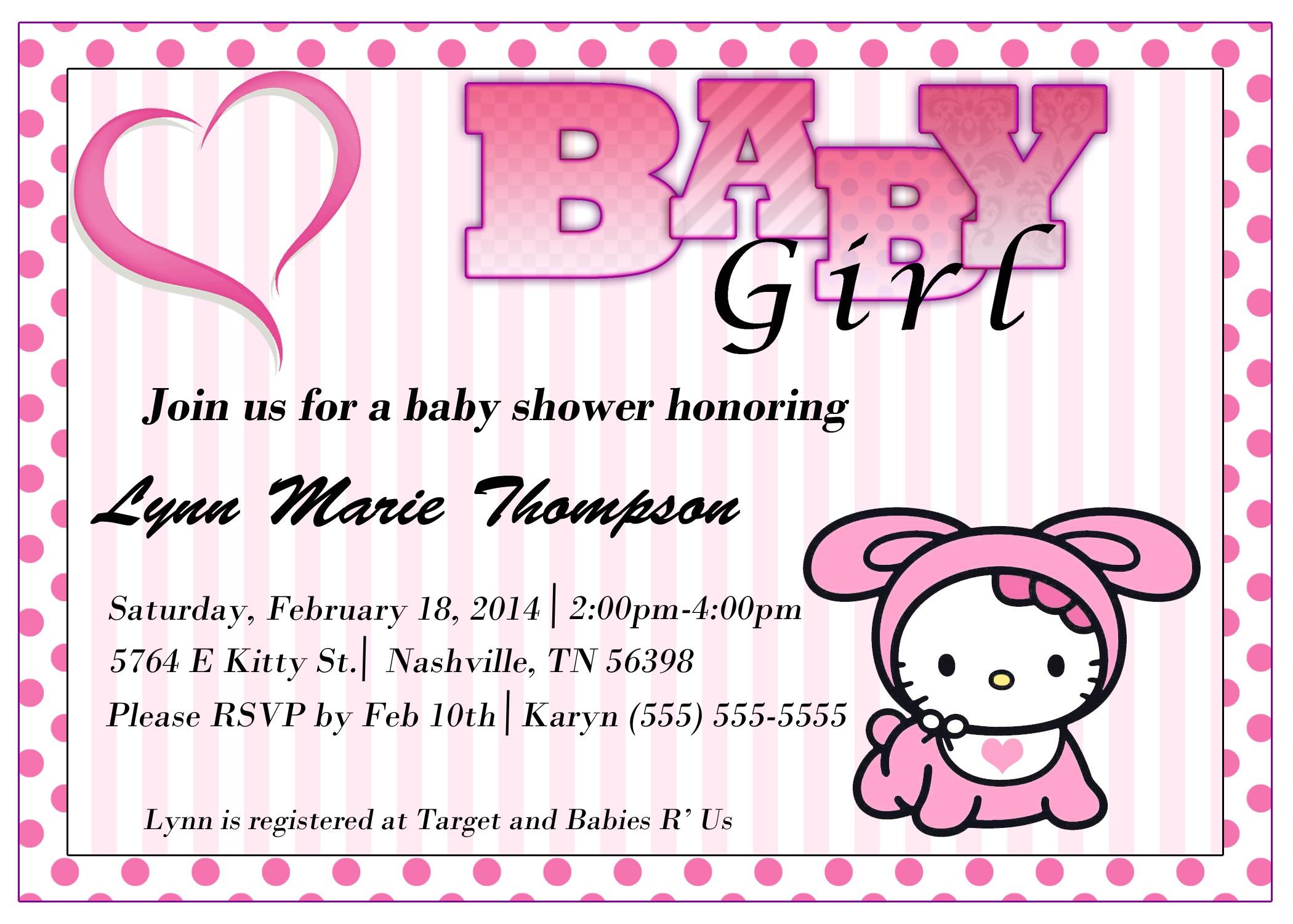 hello kitty baby shower invitations templates ideas