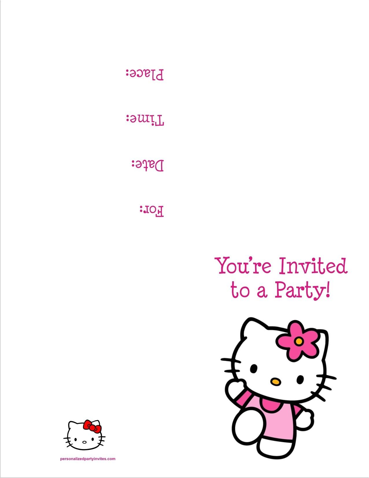 hello kitty free printable birthday party invitation
