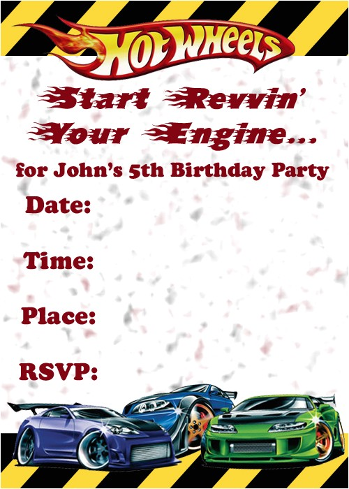 Free Printable Hot Wheels Birthday Party Invitations Invitations