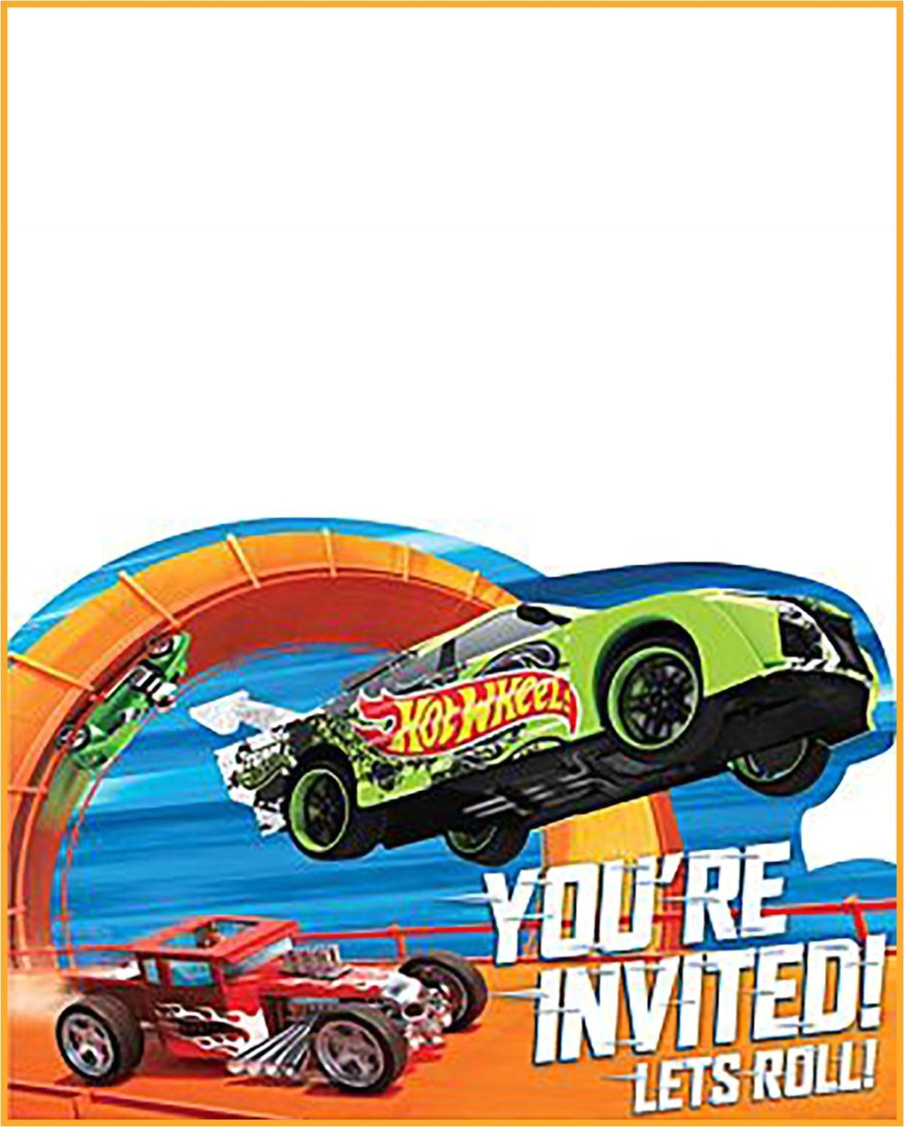 free printable hot wheels invitation templates