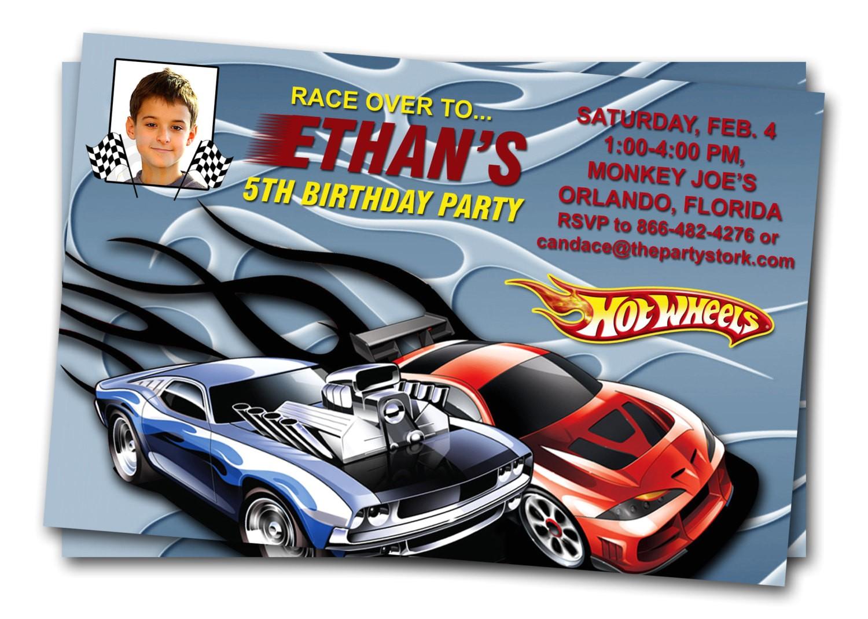 hot wheels birthday invitations
