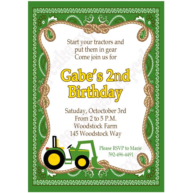 John Deere Inspired Printable Invitation 5 DIY green yellow