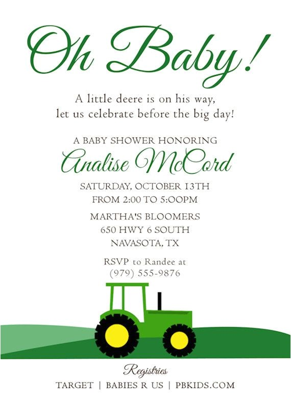 Free Printable John Deere Baby Shower Invitations Printable Baby Shower Invitation Tractor theme