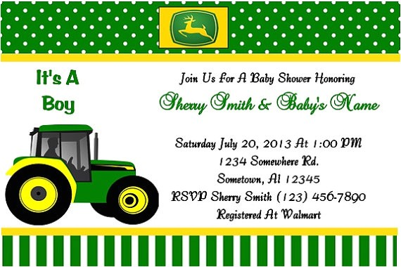 john deere baby shower invitation green
