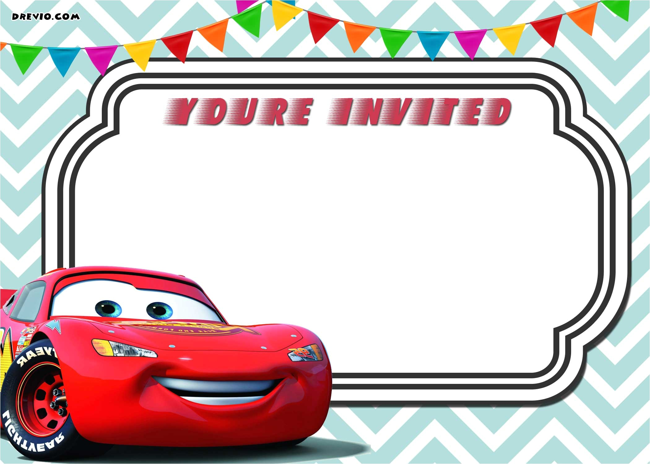 free printable cars 3 lightning mcqueen invitation template