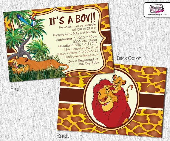 lion king inspired baby shower invitations