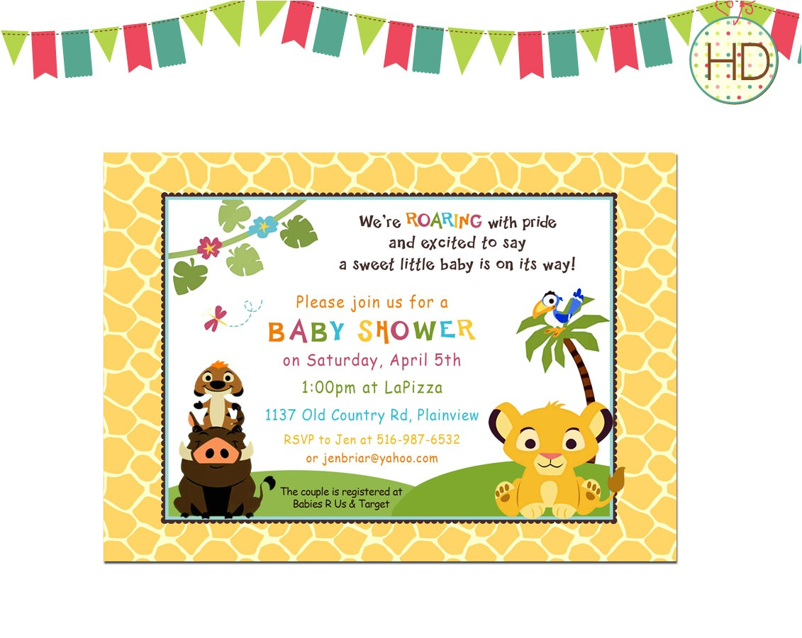 printable lion king baby shower invitations