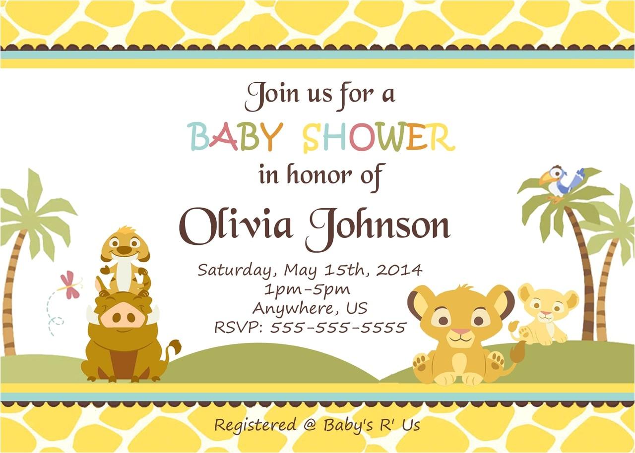 simba lion king shower invitations baby shower custom invitations