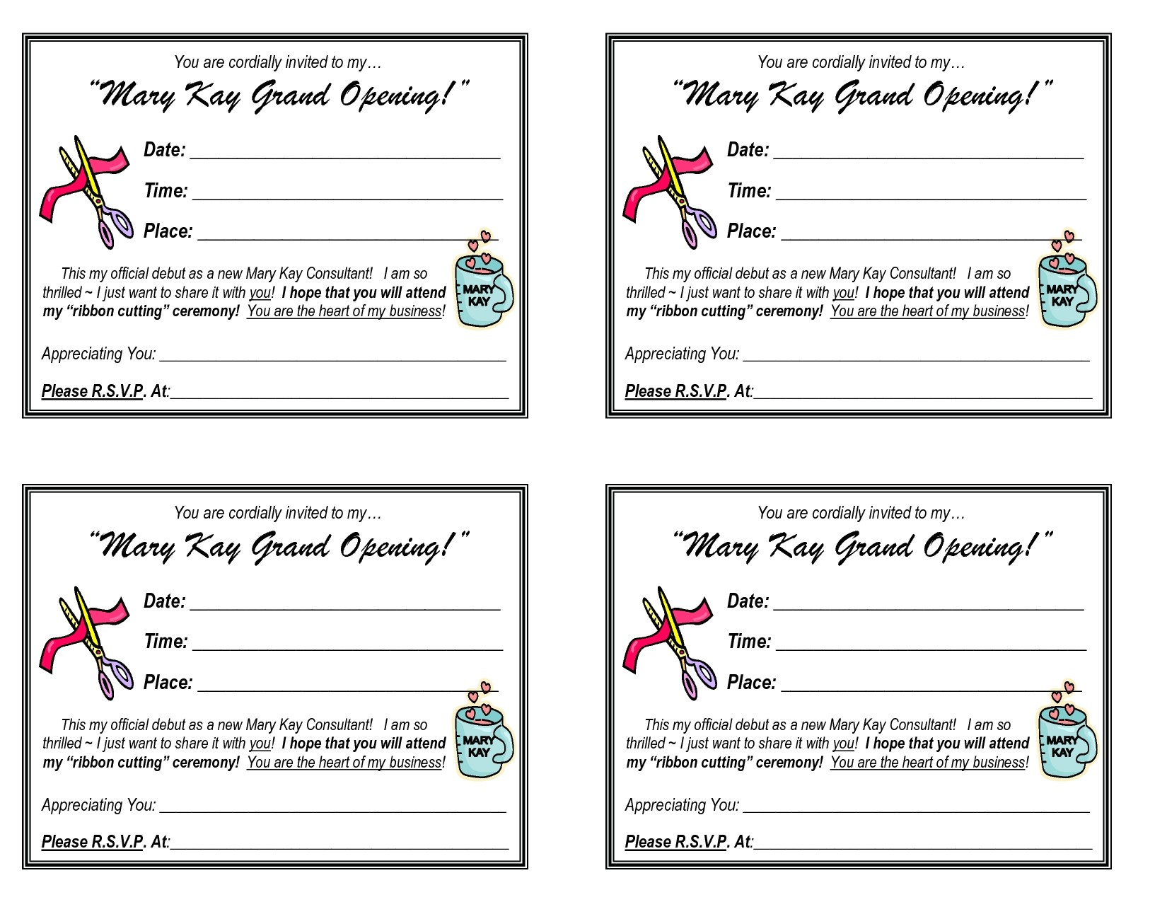 mary kay party invitations template