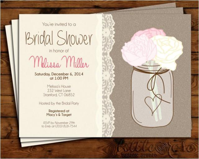bridal shower invitation wedding shower invite bridal brunch mason jar invitation burlap baby shower birthday printable invite