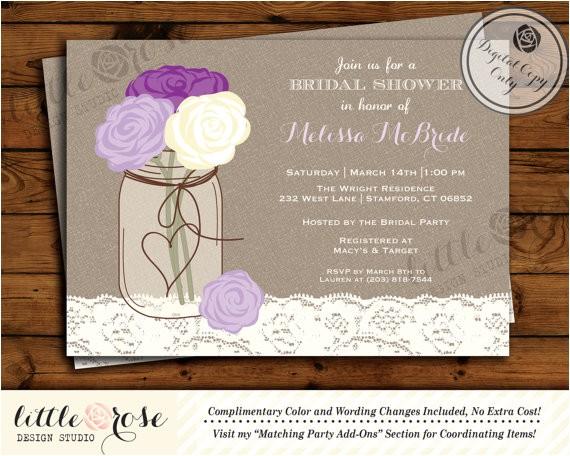 mason jar bridal shower invitation bridal shower invite wedding shower baby shower birthday party invite printable invitation
