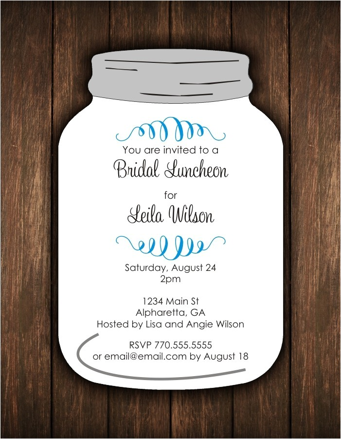 mason jar cut invitation bridal shower or any occasion