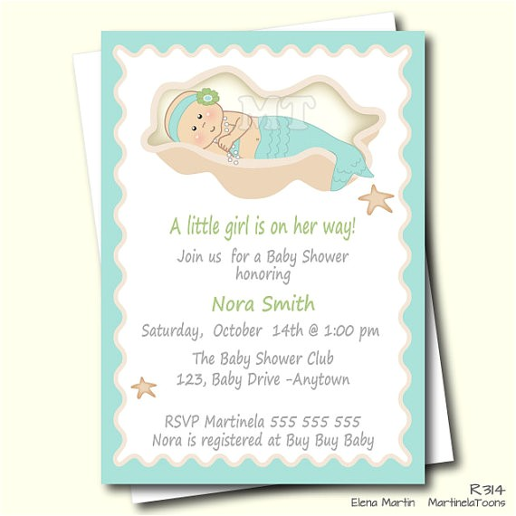mermaid baby shower invitation mermaid invite