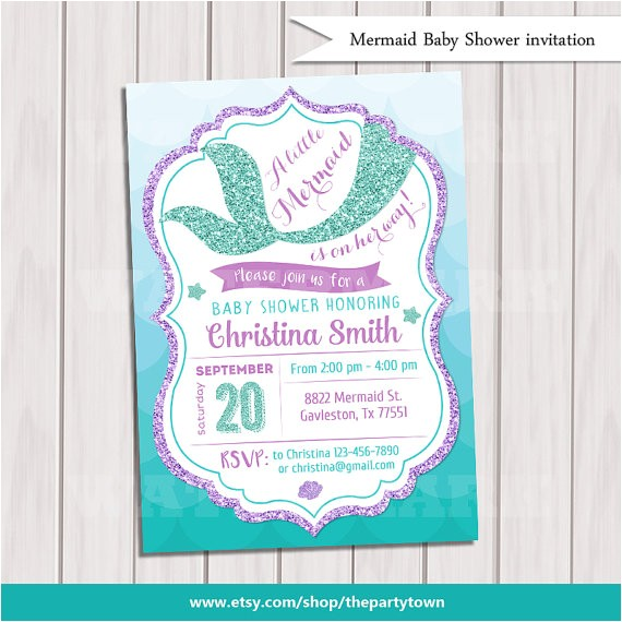 mermaid baby shower invitation mermaid baby 2