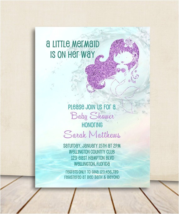 Free Printable Mermaid Baby Shower Invitations Mermaid Baby Shower Invitation Turquoise and Purple