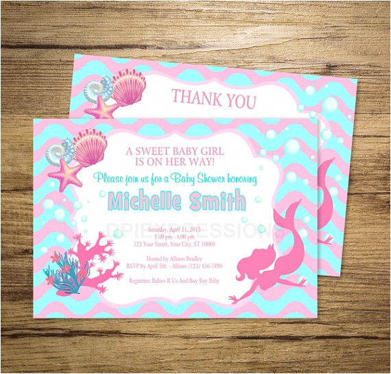 mermaid girl baby shower invitation printable