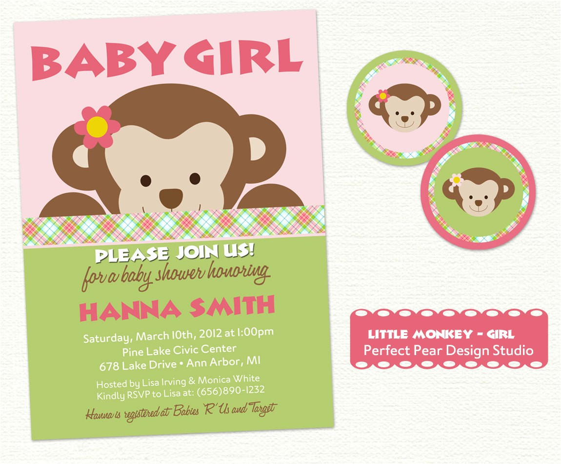 baby shower invitation with free monkey