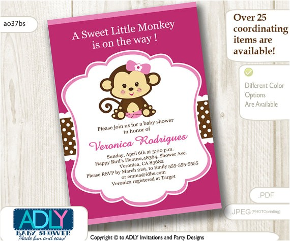 hot pink girl monkey baby shower