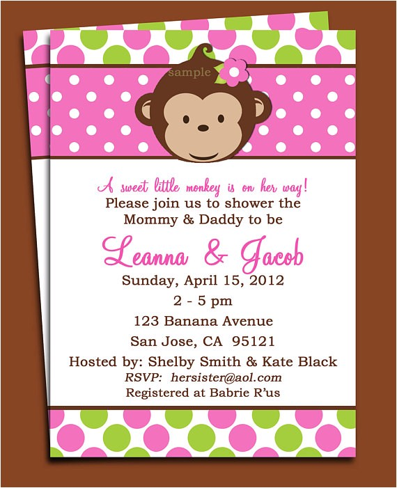 mod monkey girl invitation printable mod