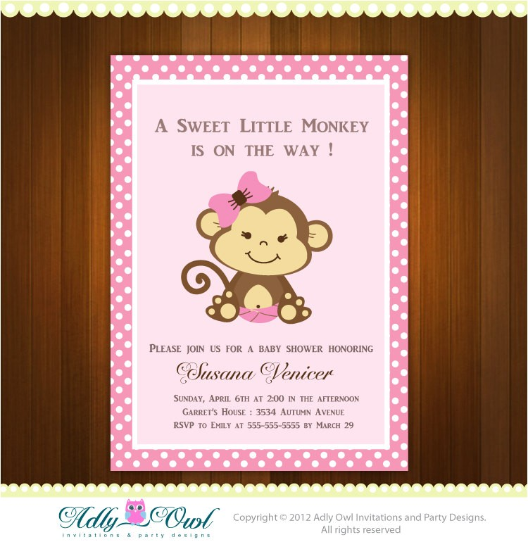 pink girl monkey baby shower printable