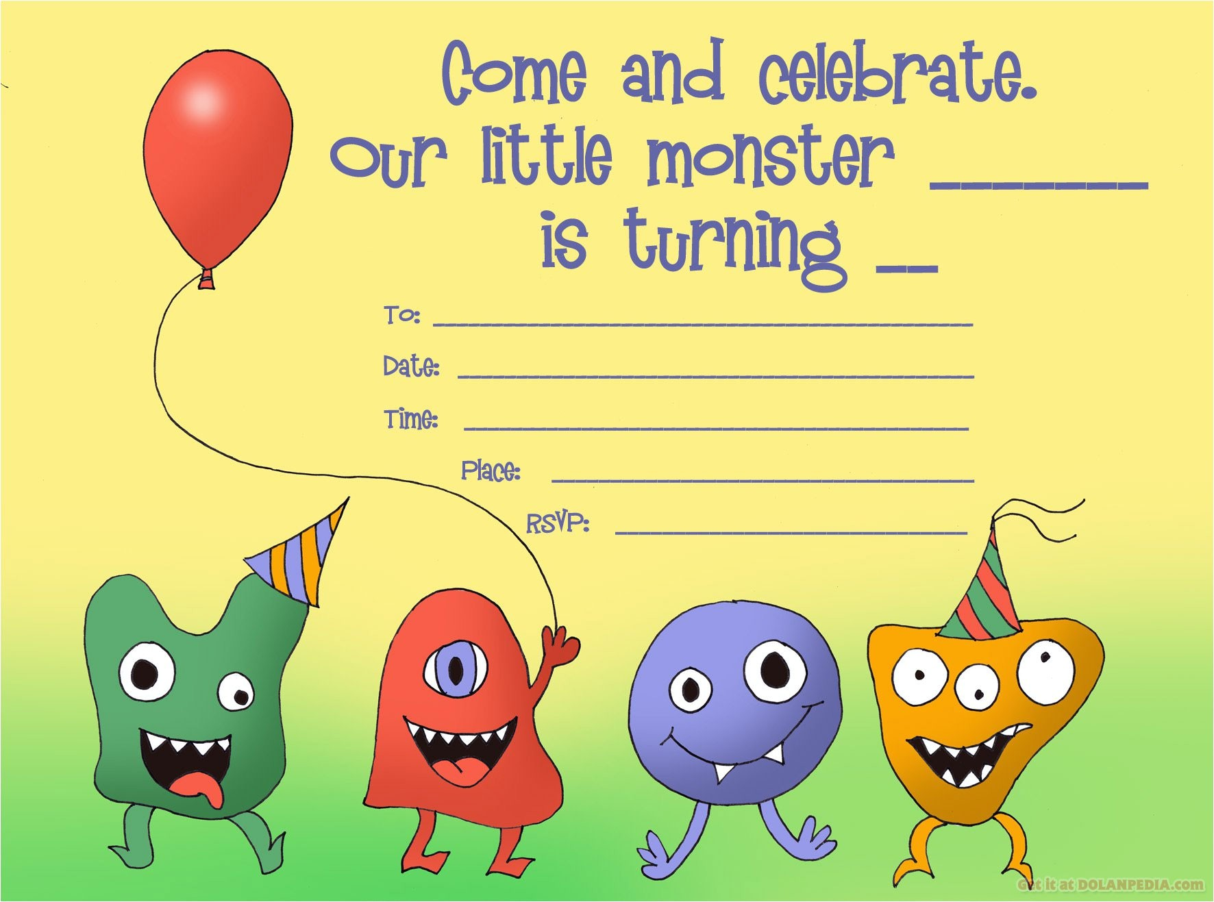 little monsters birthday invitation template